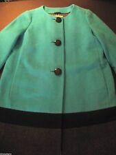 Kate Spade Color Blocking Coat turquoise blue grey black new wool winter office