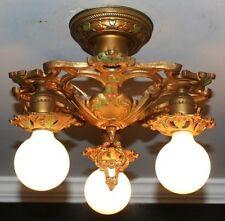 Antique 3 socket LACO cast iron art deco semi flush light fixture chandelier