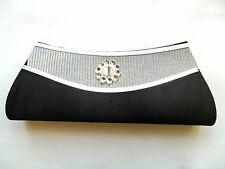 SMALL SATIN CLUTCH EVENING, PARTY, WEDDING, PROM, BRIDESMAID, HANDBAG Black