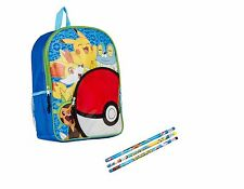 Pokemon Pikachu Backpack 16 inch School Bag + 3 Pokemon Pencil Set NEW