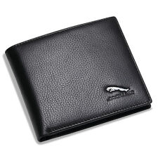 new Jaguar Black Bifold Wallet Genuine Calfskin Leather with 6 Credit Card Men