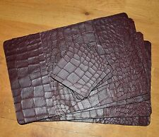 Genuine Leather Placemats & Coasters Set Of Four Each Burgundy Black - Mulberry