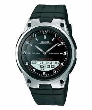 Casio AW-80-1A Data Bank Analog Digital Black Resin Watch AW-80