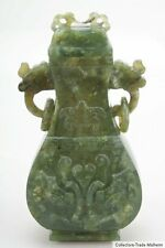 Cina 19./20 JH. a Chinese carved Spinach Jade vaso-giada cinese chinois Qing