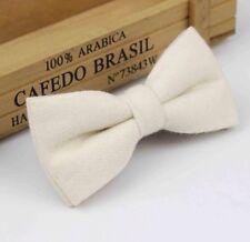 New Vintage Cream White Ivory Tweed/ Wool Bow Tie. Great Reviews. U.K. Seller