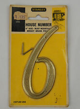 """1960's Mid Century Mod 4"""" Stanley Brass Waffle Pattern House Number 6 Mailbox"""