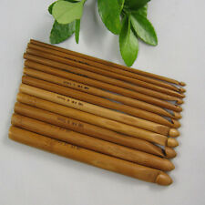 "6"" 12 Size Weave Yarn Craft Knitting Needles Set Bamboo Handle Crochet Hook Knit"