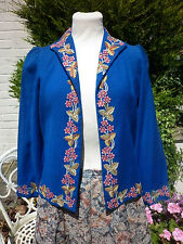 STUNNING TRUE VINTAGE ROYAL BLUE BEAUTIFULLY HAND EMBROIDERED CARDIGAN 1940 10