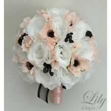 17 Piece Package Wedding Bridal Bouquet Silk Flower BLACK BLUSH ANEMONE Decor