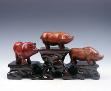 3 Japanese Boxwood Hand Carved *Piggy/Pig* Netsuke w/ Wooden Stand #06101604