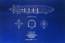 Vintage Goodyear Made Blimp USS Akron 1931 Print Blueprint Plan 22x28   (305)