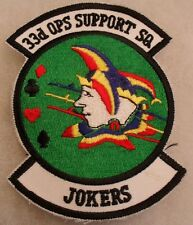 """AF """"33RD OPS SUPPORT SQ JOKERS"""" EMBROIDERED CUT EDGE W/ TWILL TAB"""