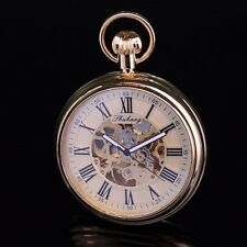 Open Face Gold Copper Roman Numerals Skeleton Dial Hand Wind Pocket Watch Fob