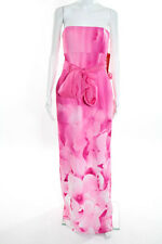 ML Monique Lhuillier Pink Silk Tie Dye Strapless Full Length Dress Size 6 New
