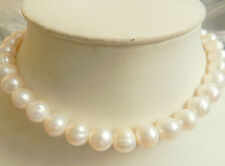 New 14K Solid Gold Clasp 10-11MM White Akoya Pearl Necklace 18""