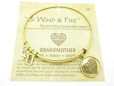Wind & Fire Grandmother Charm Gold Wire Bangle Stackable Bracelet USA Gift New