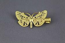 Gold metal filigree butterfly hair clip barrette claw clamp accessory