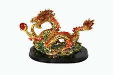 Dragon Statue Figurine Holding Red Crystal Ball Brass Color Detailed Feng Shui