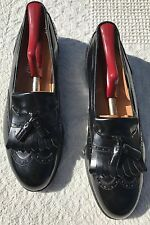 Black Salvatore Ferragamo Lucas Brouged Wingtip Tassel Dress Loafer 9 B