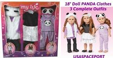 "3 DOLL Panda OUTFITS Purple+White Shoes Sleepwear Clothing Set 18"" American Girl"