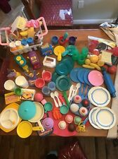 Mixed Vintage Lot 173 Fisher Price Play Pretend Food 1986,87,89, Milk Jug Dishes