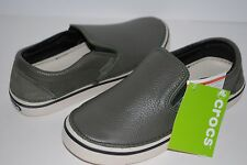 NWT CROCS HOVER SLIP ON LEATHER ARMY GREEN 10 men / 12 women boat shoes loafers