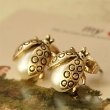 Golden Plated Earring GP Retro Sweet Small Pearl Ladybug Earrings Studs Jewelry