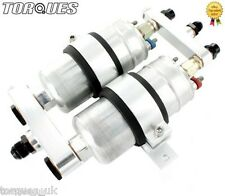 Twin Bosch 044 Fuel Pump Billet Aluminium Assembly AN-6, AN-8 or AN-10 - SILVER