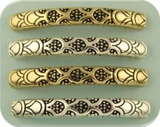 2 Hole Beads Dragon Scale Pattern Bangle Bars ~ Renaissance ~Silver & Gold Qty 4