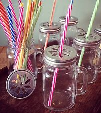 X10 Vintage Jam Jar/ Moonshine Glass With Handle Metal Lid Candy Stripe Straw