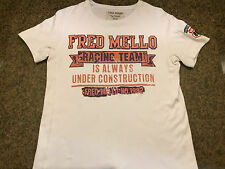 Fred mello womens shirt short sleeve sewn on letters white xl