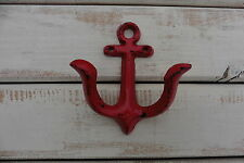 RED BOAT SHIP ANCHOR CAST IRON WALL HOOK ~ SEA NAUTICAL BOATING HOME DECOR