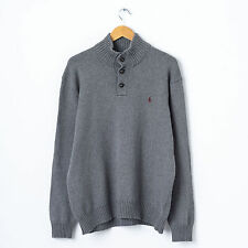 Ralph Lauren Turtle Neck Jumper in Grey Size XL Funnel Polo Cardigan Sweater