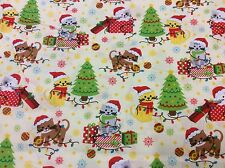 Fat Quarter Kitty Cat Christmas Allover 100% Cotton Quilting Fabric