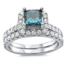 1 3/5 ct Blue Princess Cut Diamond Engagement Ring Bridal Set 18k White Gold