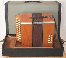 Antique HOHNER ACCORDEON, Small Button Accordion, Made in Germany, Wood, Working