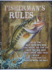 PLAQUE METAL PUBLICITAIRE usa country FISHERMAN RULES POISSONS PECHE -40 X 30 CM
