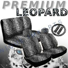 Snow Leopard 11pc Car Seat Covers Animal Gray Pair Bench Steering Wheel CS