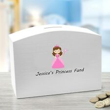 Personalised Princess White Wooden Money Box with child's name printed