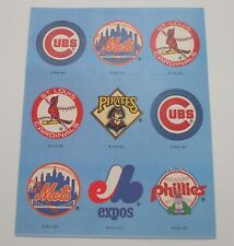 Vintage Baseball Logo Sticker Sheet~MBL~MLB~Cubs~Mets~Pirates~Phillies~Expos~New