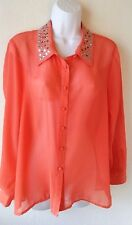 Plus Size 2X Top Sheer Coral/Orange Embellished Collar Button Front Tattoo Me