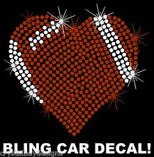 Sports Mom Football Heart School Rhinestone Bling Car Decal Sticker 50-01