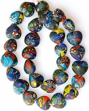 """27"""" Strand Large Heart Shaped Millefiori Beads from the African Trade"""