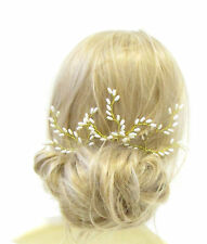 3x Gold Ivory Vine Leaf Pearl Hair Pins Bridal Wedding Headpiece Clips Set 1087
