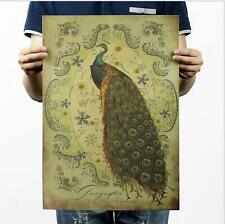 Hand painted Peacock / Kraft Paper Poster Sticker / Bar Decorative Painting