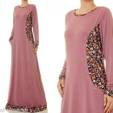 US Seller Sporty Long Sleeve Anarkali Jilbab Abaya Maxi Dress Plus Sz #6224