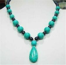 """New 7-8mm Black Tahitian Pearl & Turquoise Necklace 18"""" AAA"""