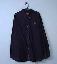 Mens Vintage Cord Shirt in Navy Blue w/ Button Down Collar XXL XX-Large