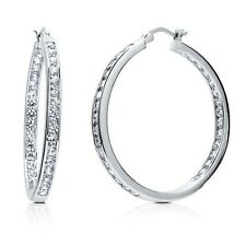 """1 3/8"""" Inside Out Brilliant Round Diamonique CZ Hoop Earrings AntiTarnish Silver"""