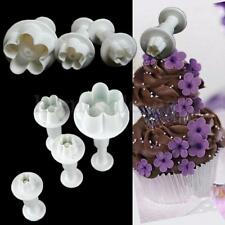 4pcs Plum Blossom Flower Cutter Fondant Cake Sugarcraft Decoration Plunger Mold